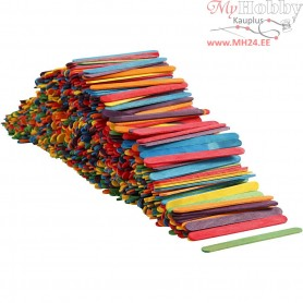 Wood Sticks, L: 11.4 cm, W: 10 mm, asstd. colours, 1000pcs