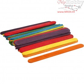 Wood Sticks, L: 11.4 cm, W: 10 mm, asstd. colours, 30pcs
