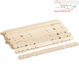 Wooden construction sticks, L: 11.4 cm, W: 10 mm, birch, 30pcs