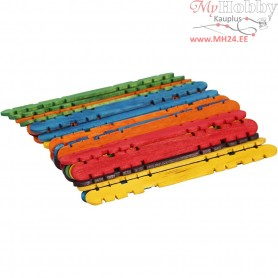 Wooden construction sticks, L: 11.4 cm, W: 10 mm, asstd. colours, 30pcs