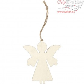 Angel, H: 8 cm, W: 7 cm, plywood, 4pcs, depth 0.5 cm