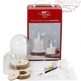Kits for bells with inner decoration, H: 12.5+18 cm, 2pcs