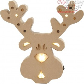 Figure with light inside, reindeer, H: 28 cm, W: 27 cm, 1pc, depth 4 cm