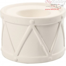 Candle Light Holder, H: 6.6 cm, D: 9.3 cm, white, 2pcs, hole size 2.2+4 cm