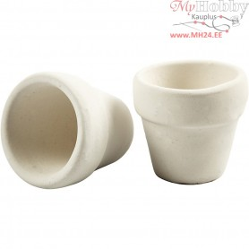 Flower pots, H: 4.6 cm, D: 5.2 cm, white, 6pcs