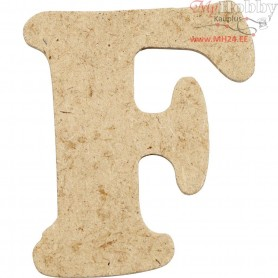 Letter, F, H: 4 cm, thickness 2,5 mm, MDF, 10pcs