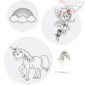 Mobile Ornaments with Motifs, unicorn, D: 12+15+18 cm,  300 g, white, 3sets