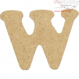 Letter, W, H: 4 cm, thickness 2,5 mm, MDF, 10pcs