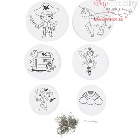 Mobile Ornaments with Motifs, pirates and unicorn, D: 12+15+18 cm,  300 g, white, 20sets