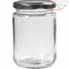Storage Glass Jar, H: 11 cm, D: 7.5 cm, transparent, 6pcs, 370 ml