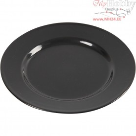 Side Plates, D: 19 cm, black, 6pcs