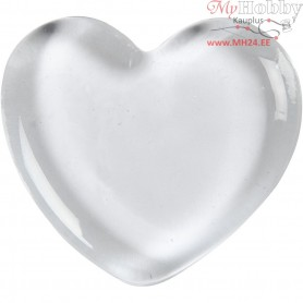 Heart, size 6.5x6.5 cm, thickness 10 mm, transparent, 20pcs