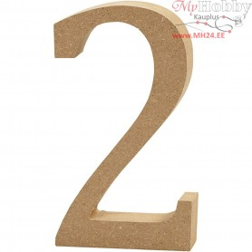 Number, 2, H: 13 cm, thickness 2 cm, MDF, 1pc