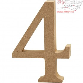 Number, 4, H: 13 cm, thickness 2 cm, MDF, 1pc