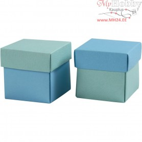 Folding box, size 5.5x5.5 cm,  250 g, light turquoise/dark turquoise, 10pcs