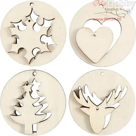 2-in-1 Hanging Decorations, D: 7 cm, thickness 4 mm, plywood, 8pcs, hole size 3 mm