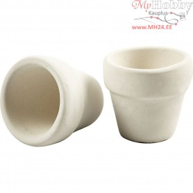 Flower Pots, D: 5.2 cm, H: 4.6 cm, white, 48pcs