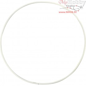 Metal Wire Ring, circle, D: 20 cm, thickness 3 mm, white, 5pcs