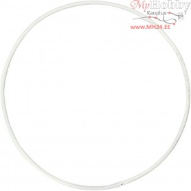 Metal Wire Ring, circle, D: 10 cm, thickness 2 mm, white, 10pcs