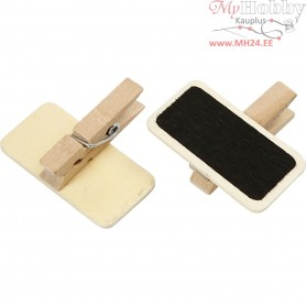 Blackboard with clothes peg, size 4x2 cm, 12pcs