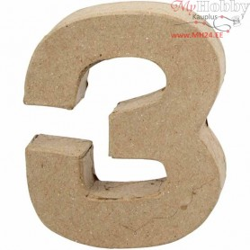 Number, 3, H: 10 cm, thickness 1.7 cm, 1pc, W: 8 cm