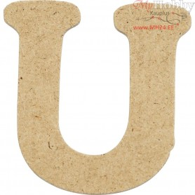 Letter, U, H: 4 cm, thickness 2,5 mm, MDF, 10pcs