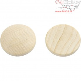 Wooden buttons, D: 25 mm, thickness 5 mm, china berry, 15pcs