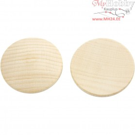 Wooden buttons, D: 40 mm, thickness 6 mm, china berry, 10pcs