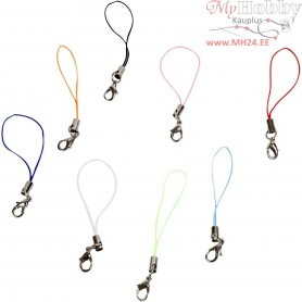Mobile Phone Strap, L: 7 cm, asstd colours, 10pcs