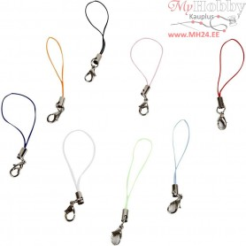 Mobile Phone Strap, L: 7 cm, asstd colours, 100pcs