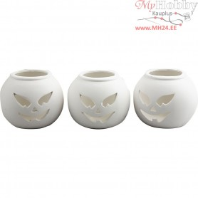 Tea Light Candle Holder, pumpkin, size 9x9x7.5 cm, white, 12pcs