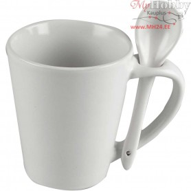 Mug with Spoon, H: 10 cm, D: 6-8.8 cm, white, 12pcs, approx. 330 ml