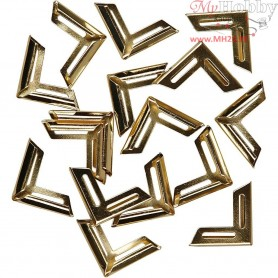 Metal Corners, size 19x19 mm, inner size 5 mm, gold, 150pcs