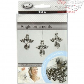 Angel Ornament, H: 5.5 cm, W: 4.5 cm, silver, 4pcs