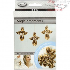 Angel Ornament, H: 5.5 cm, W: 4.5 cm, gold, 4pcs