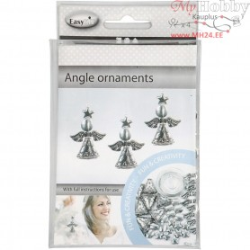 Angel Ornament, H: 5.5 cm, antique silver, 4pcs