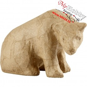 Paper Mache Animal, polar bear, H: 10cm, thickness 7cm, 1pc