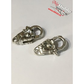 Lobster Claw, size 24x13mm, antique silver, 5pcs