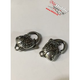Lobster Claw, size: 20x12mm, antique silver, 5pcs