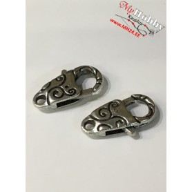Lobster Claw, size: 24,5x13mm, antique silver, 5pcs