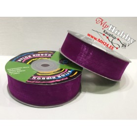 Organza ribbon, width: 25mm, dark purple, 30m, 1pc.