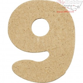 Number, 9, H: 4 cm, thickness 2,5 mm, MDF, 10pcs