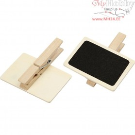 Blackboard with clothes peg, size 6,8x4,7 cm, 6pcs