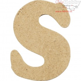 Letter, S, H: 4 cm, thickness 2,5 mm, MDF, 10pcs