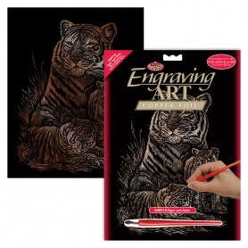 Tiger & Cubs Engraving Art Kit Standard - Royal Brush - Copper Foil 20.3x25.4cm (COPF12)