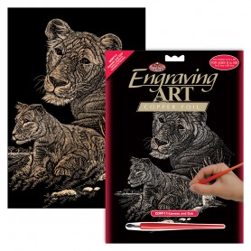 Lioness & Cub Engraving Art Kit Standard - Royal Brush - Copper Foil 20.3x25.4cm (COPF11)