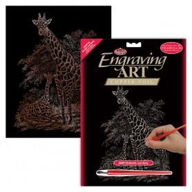 Giraffe & Baby Engraving Art Kit Standard - Royal Brush - Copper Foil 20.3x25.4cm (COPF16)