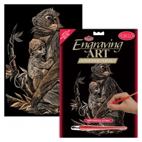 Monkey & Baby Engraving Art Kit Standard - Royal Brush - Copper Foil 20.3x25.4cm (COPF15)
