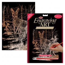 Kangaroo & Baby Engraving Art Kit Standard - Royal Brush - Copper Foil 20.3x25.4cm (COPF22)