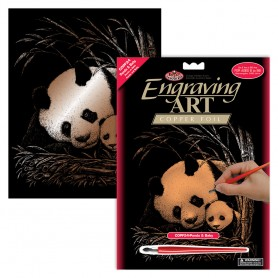 Panda & Baby Engraving Art Kit Standard - Royal Brush - Copper Foil 20.3x25.4cm (COPF24)